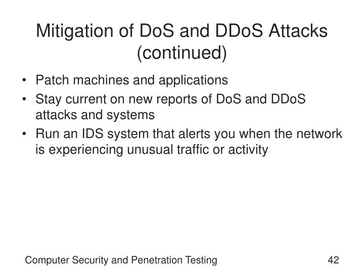Mitigation of DoS and DDoS Attacks (continued)