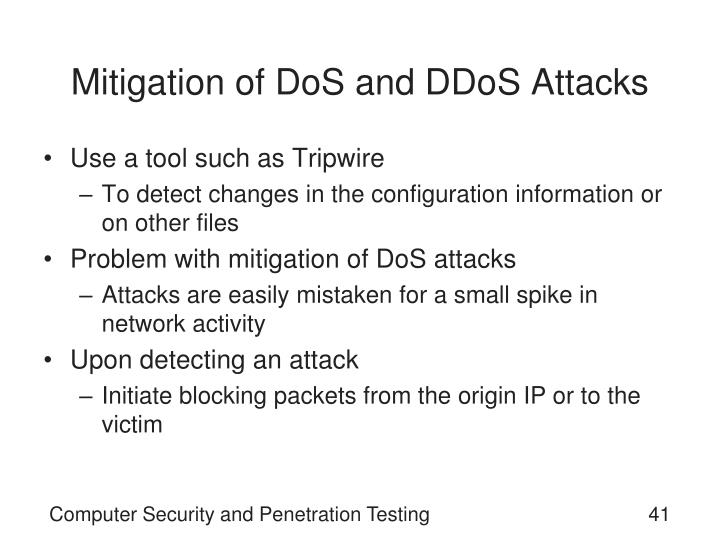 Mitigation of DoS and DDoS Attacks