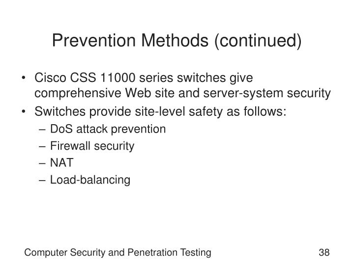 Prevention Methods (continued)