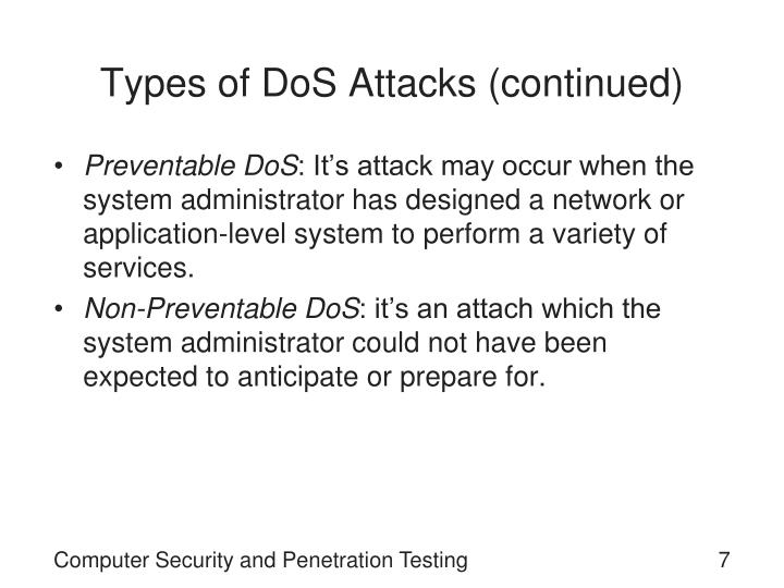 Types of DoS Attacks (continued)
