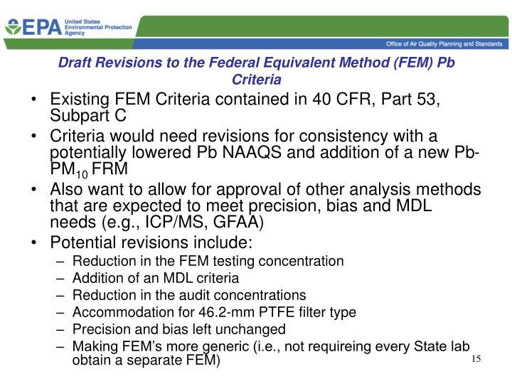 Draft Revisions to the Federal Equivalent Method (FEM) Pb Criteria