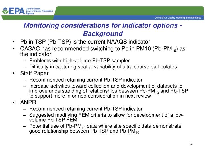 Monitoring considerations for indicator options - Background