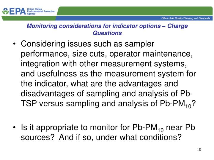 Monitoring considerations for indicator options – Charge Questions