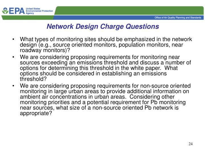Network Design Charge Questions