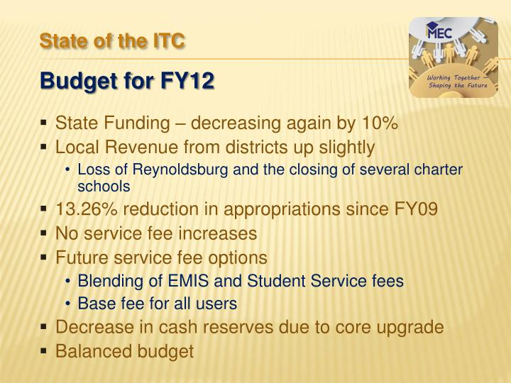 State Funding – decreasing again by 10%