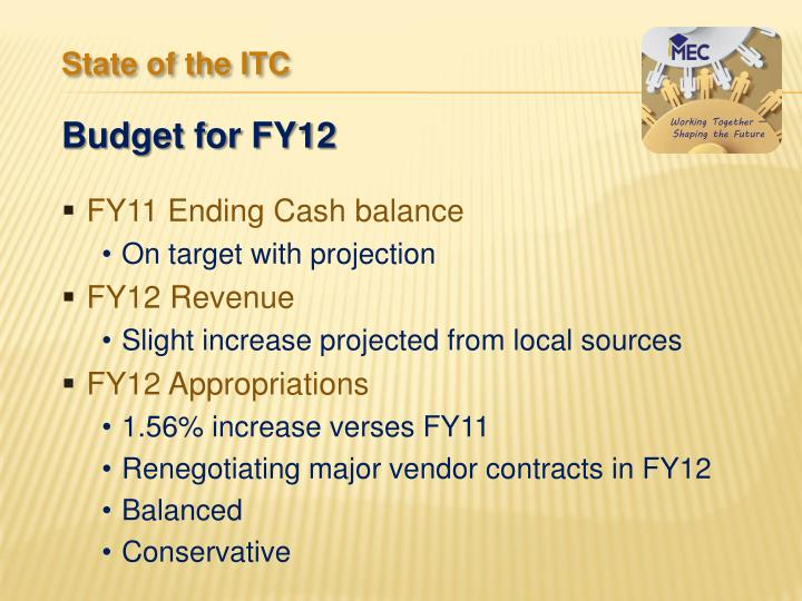 FY11 Ending Cash balance