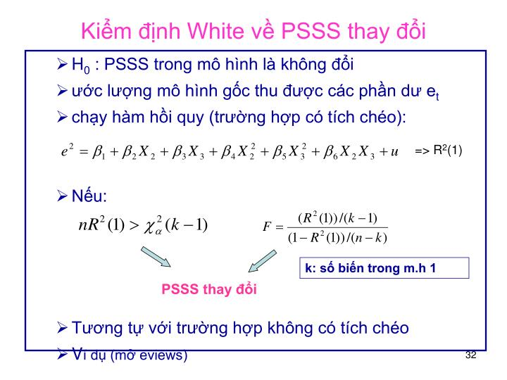 Kiểm định White về PSSS thay đổi