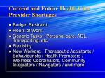 current and future health care provider shortages