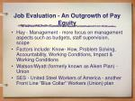 job evaluation an outgrowth of pay equity