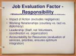 job evaluation factor responsibility