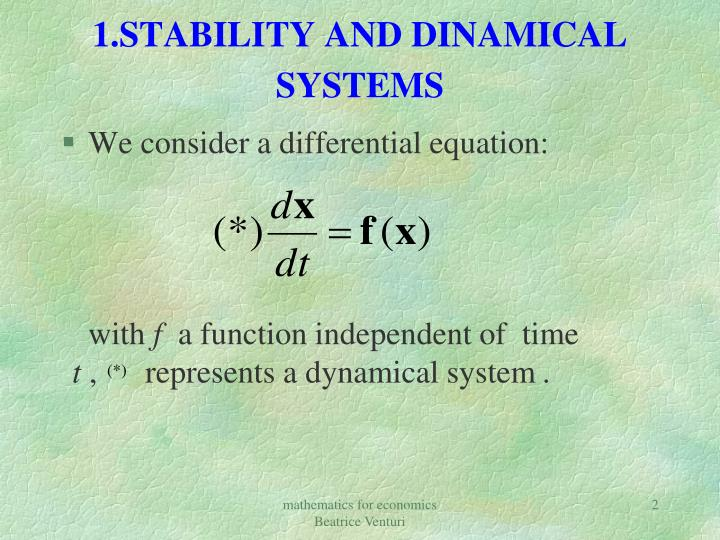 1 stability and dinamical systems