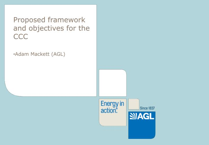 Proposed framework and objectives for the CCC