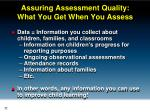 assuring assessment quality what you get when you assess