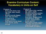 examine curriculum content vocabulary in units on self