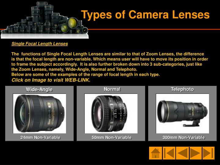 Single Focal Length Lenses