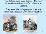 the salzburgers were some of the most industrious and successful colonists in georgia