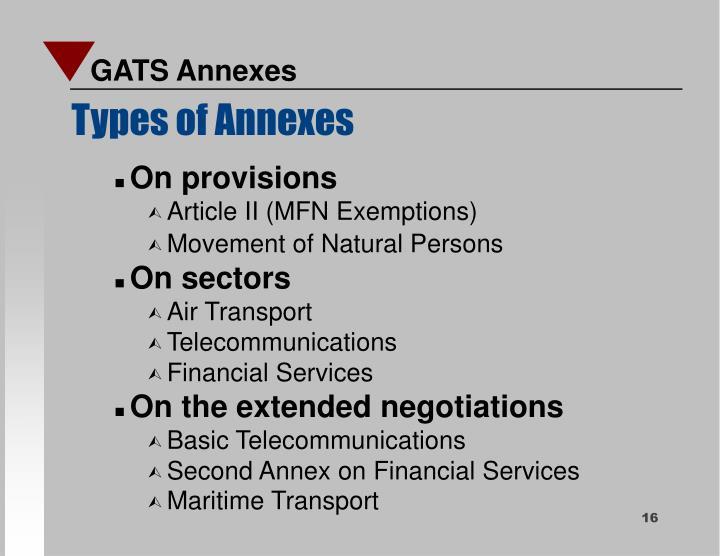 GATS Annexes
