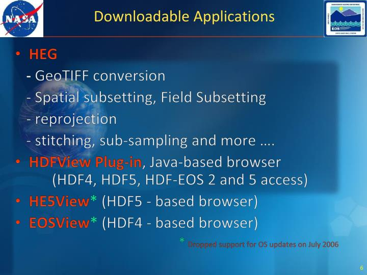 Downloadable Applications