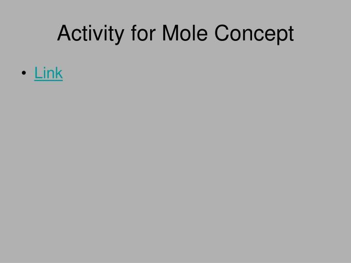 Activity for Mole Concept