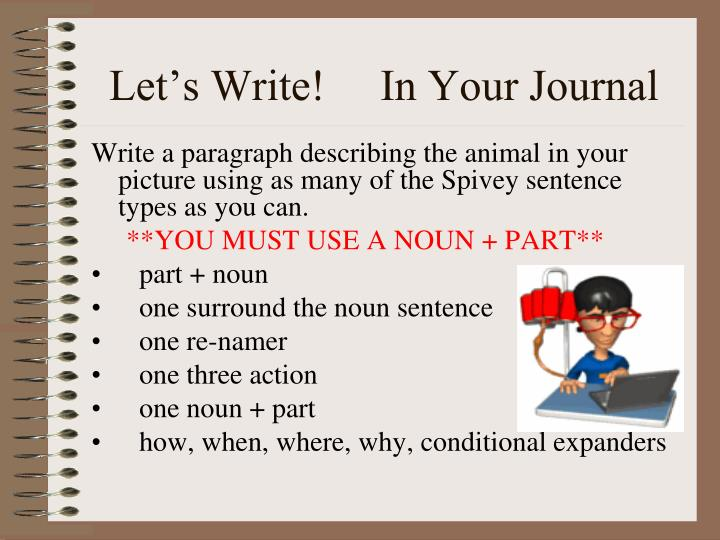 Let's Write!     In Your Journal
