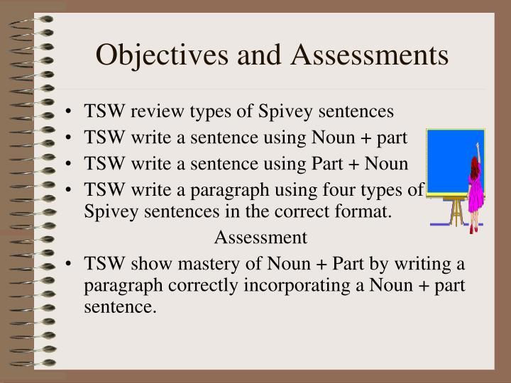 Objectives and assessments