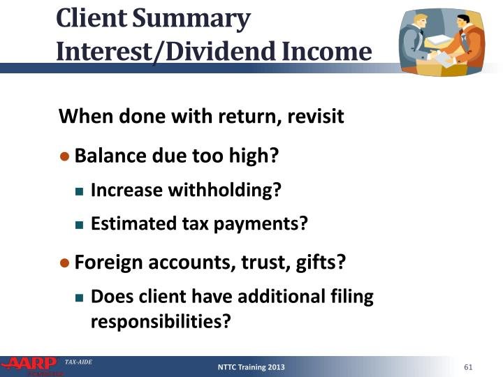 Client Summary Interest/Dividend Income