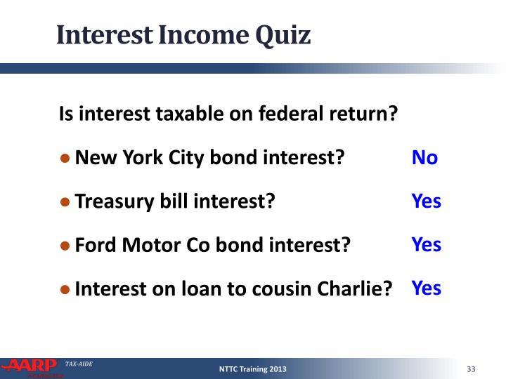 Interest Income Quiz