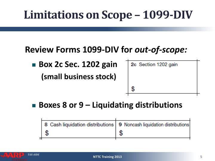 Limitations on Scope – 1099-DIV