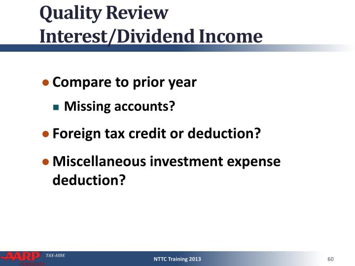 Quality Review Interest/Dividend