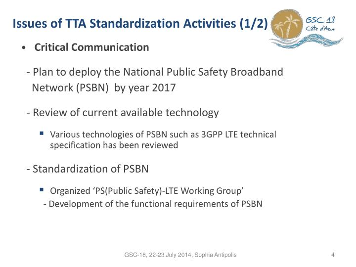 Issues of TTA Standardization Activities (1/2)