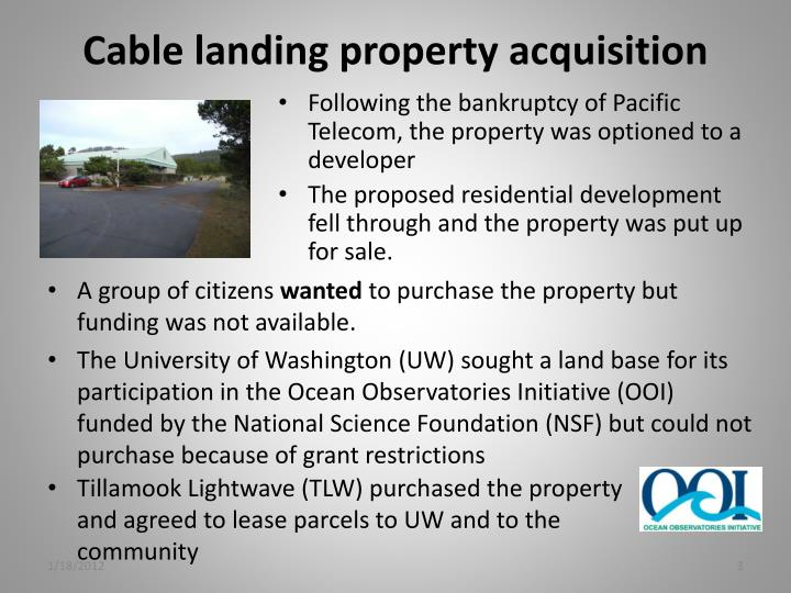 Cable landing property acquisition