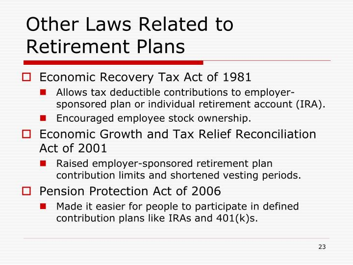 Other Laws Related to Retirement Plans