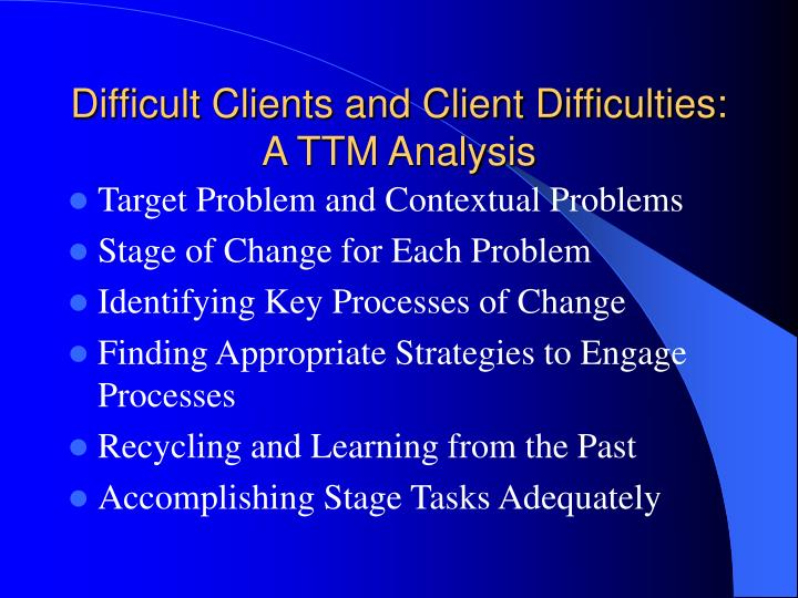 Difficult Clients and Client Difficulties: A TTM Analysis