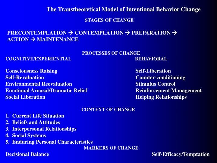 The Transtheoretical Model of Intentional Behavior Change