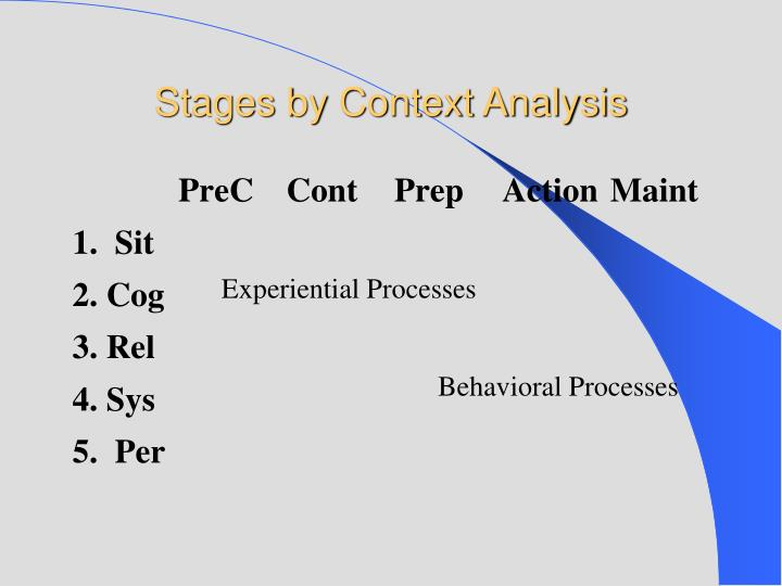 Stages by Context Analysis