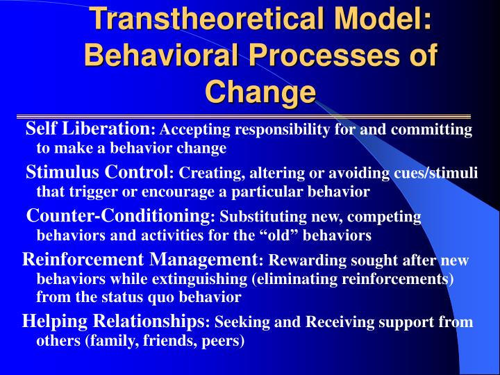 Transtheoretical Model: Behavioral Processes of Change