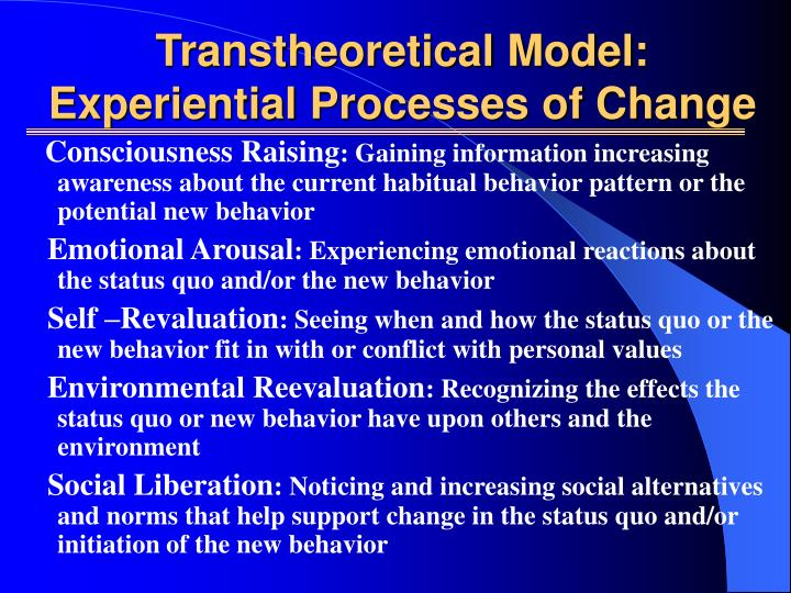 Transtheoretical Model: Experiential Processes of Change