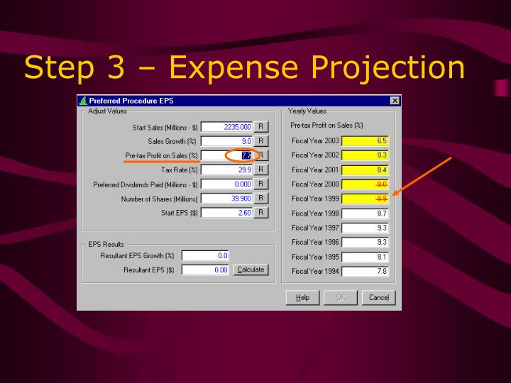 Step 3 – Expense Projection