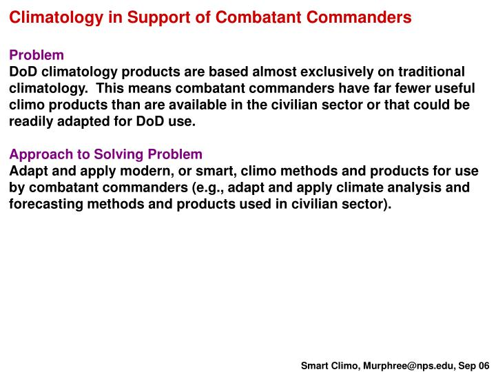 Climatology in Support of Combatant Commanders