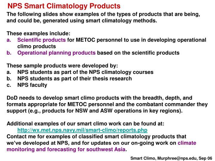 NPS Smart Climatology Products