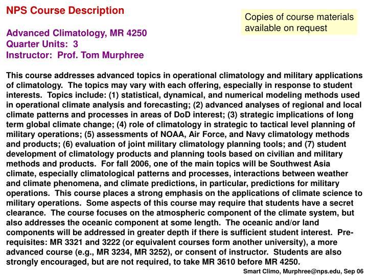 NPS Course Description
