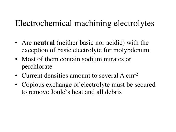 Electrochemical machining electrolytes