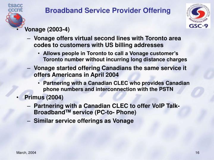 Broadband Service Provider Offering