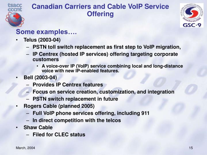 Canadian Carriers and Cable VoIP Service Offering