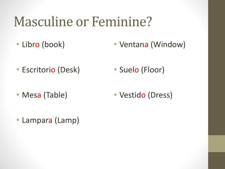 Masculine or Feminine?