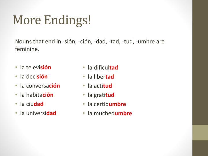 More Endings!