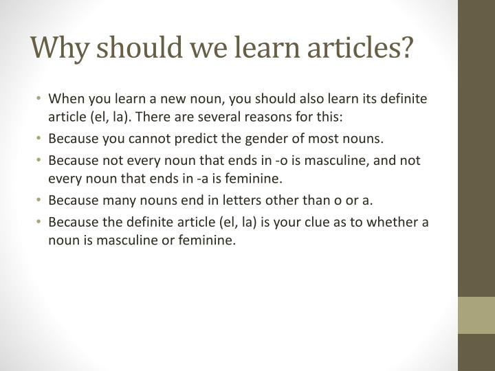 Why should we learn articles?