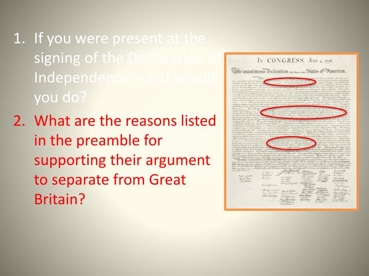 If you were present at the signing of the Declaration of Independence, what would you do?
