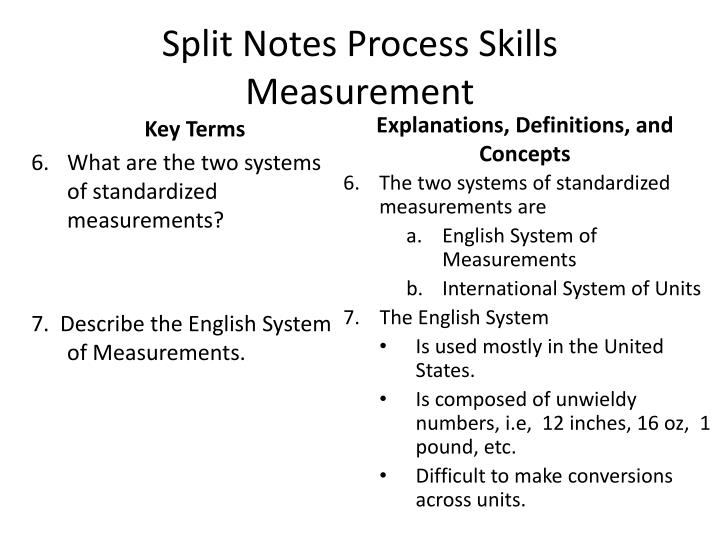 Split Notes Process Skills