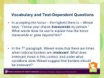 vocabulary and text dependent questions
